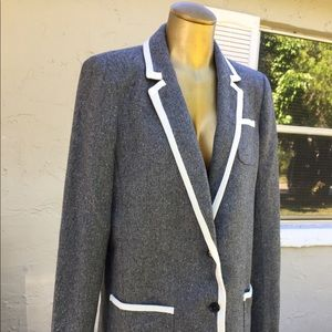 Banana Republic Hacking Jacket Grey White Tweed 10